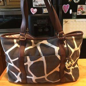 Michael Kors Giraffe leather/canvas tote   XL